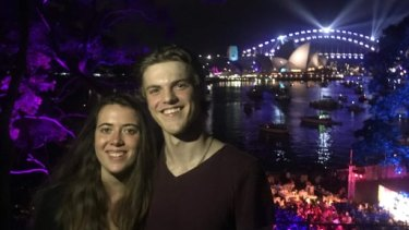 Theo Hayez and his cousin Lisa Hayez, in Sydney for New Year's Eve 2018.