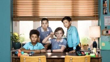 The Inbestigators, from left: Kyle (Jamil Smyth-Secka), Ava (Abby Bergman), Maudie (Anna Cooke), and Ezra (Aston Droomer).