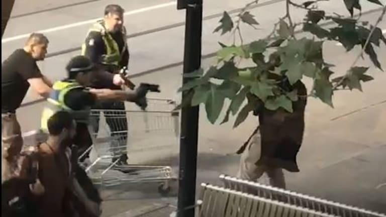 A witness tried to help police by ramming the suspect with a shopping trolley.