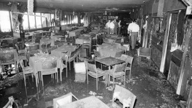 The remains of Brisbane's Whiskey Au Go Go nightclub on the corner of Amelia Street and St Pauls Terrace in Fortitude Valley on March 8, 1973.
