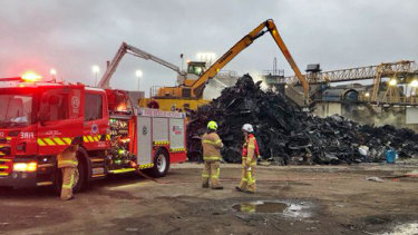 The blaze broke out at the recycling plant in the early hours of Monday morning.