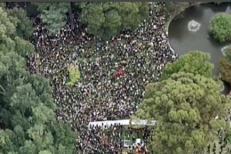 The crowd at Treasury Gardens in Melbourne as seen from above.