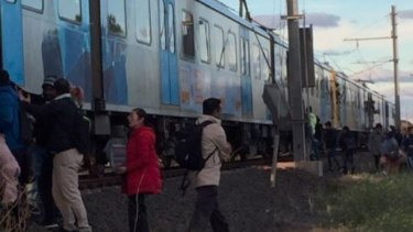 Passengers who were stranded on the Werribee train for three hours.