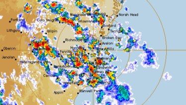 The storm as it lashed Sydney on Saturday afternoon and evening.