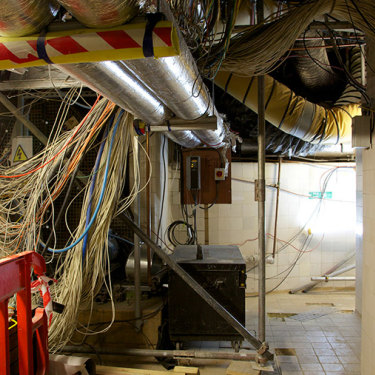 Some of the hundreds of kilometres of cables and wiring throughout the building.