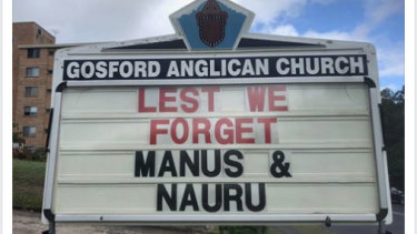 The Anzac Day message outside Gosford Anglican Church