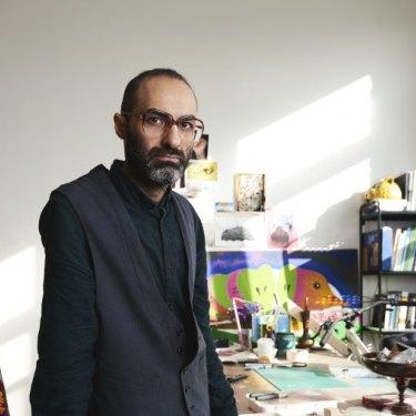 US-Iranian artist Iman Raad in his New York studio.