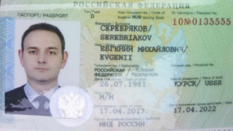 The diplomatic passport of Evgenii Serebriakov, one of four Russian officers expelled from the Netherlands.