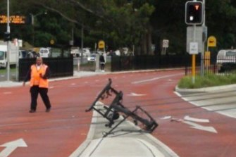 The scene of the incident on ANZAC Parade on Tuesday.