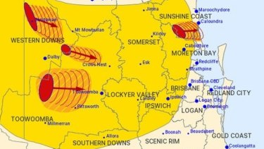 The Queensland severe storm map, issued early on Wednesday afternoon.