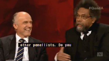 Oh brother... American philosopher Cornel West (right) and Liberal senator Eric Abetz went head to head on Q&A.