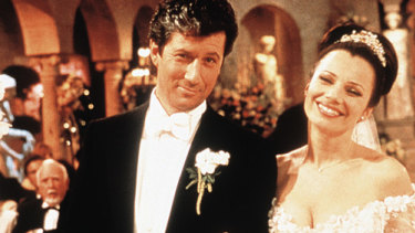 Happily ever after: Fran Drescher and Charles Shaughnessy in the wedding episode of The Nanny