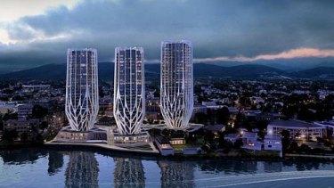 Sunland's artists impression of Grace on Coronation development on Brisbane River in Toowong, Brisbane.