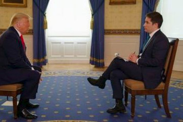 Faceoff: US President Donald Trump and Australian journalist and Axios reporter Jonathan Swan.