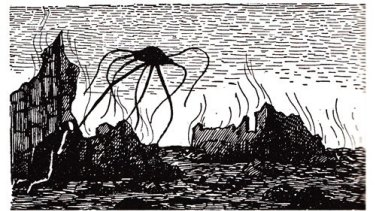 Edward Gorey martian illustration for H.G. Wells'The War of the Worlds.