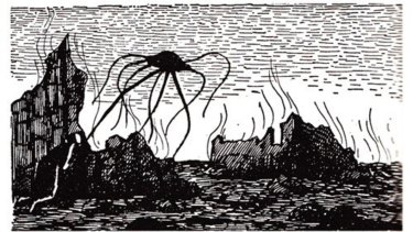 Edward Gorey martian illustration for H.G. Wells' The War of the Worlds.