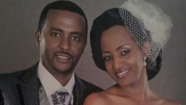 Daniel Tadese says immigration officials demanded DNA tests from him and his wife, Genet Abebe, over concerns they looked similar in this wedding photo.