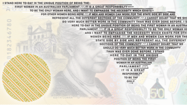 The Edith Cowan quote on the new $50 banknote.