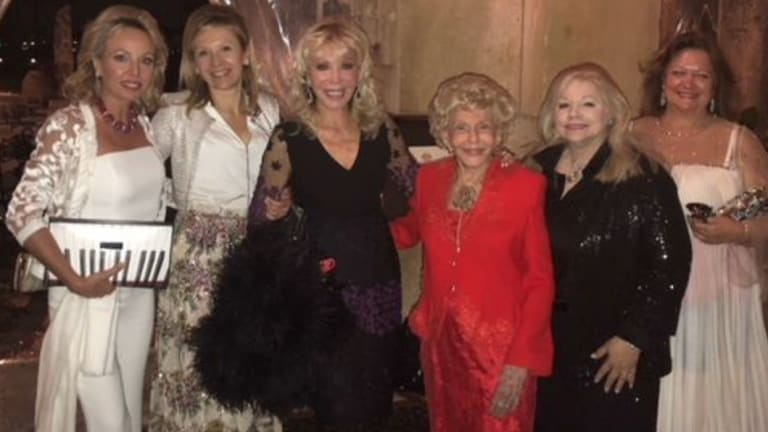 """Gina Rinehart far right with her """"Trumpette"""" sisters at Donald Trump's """"Southern White House"""" in Florida."""
