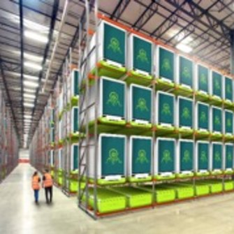InvertiGro's cubes stacked in a warehouse.