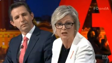 Coalition Minister Simon Birmingham and independent candidate for Indi, Helen Haines, appeared on Q&A on Monday.