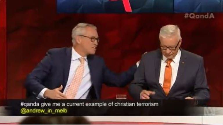 Labor senator Doug Cameron (right) did not see the humour in Tom Switzer's joke to go back to Scotland.