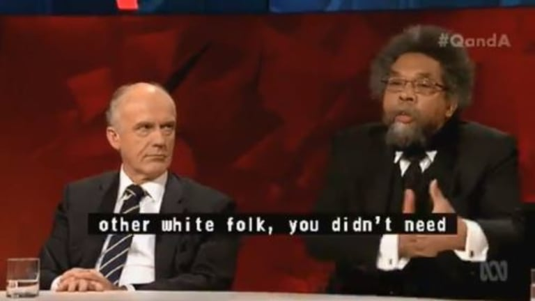 Eric Abetz told American philosopher Cornel West it was regretful that he compared the Trump administration to those of Hitler and Mussolini.