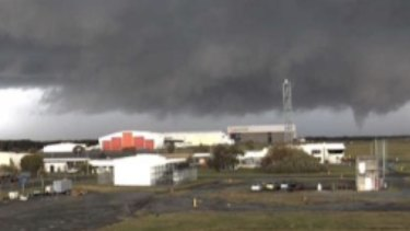 A suspected tornado at Brisbane Airport on Friday.