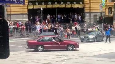 James Gargasoulas did doughnuts outside Flinders Street Station minutes before he murdered six people in the Bourke Street massacre.