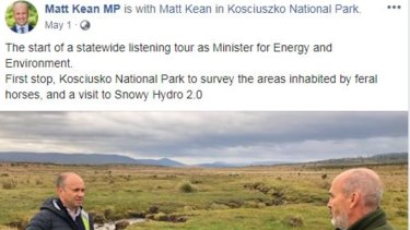 Matt Kean, the Energy and Environment Minister, visited Kosciuszko National Park to observe damage from 'feral horses'.
