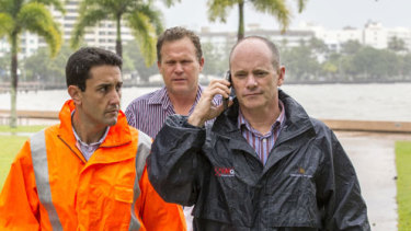 Current LNP leader David Crisafulli with former LNP leader Campbell Newman overseeing the response to Cyclone Ita in 2014.