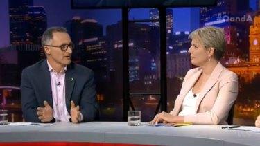 Greens leader Richard Di Natale and Labor deputy leader Tanya Plibersek clashed on Q&A.