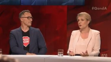 Greens leader Richard Di Natale and Deputy Opposition Leader Tanya Plibersek attached each other's parties.