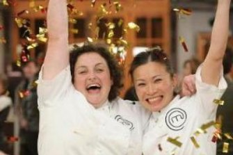 Julie Goodwin, who won MasterChef in 2009, and runner-up Poh Ling Yeow.