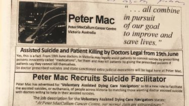 The pamphlet that was handed to cancer patients outside Peter Mac
