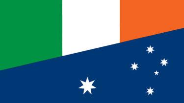 The half-Australian, half Irish flag brandished by Dennis Hogan.