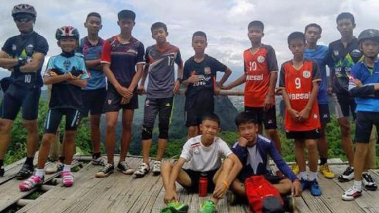 All out: the Thai soccer team who were trapped in the cave.