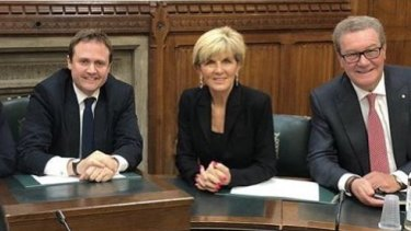 Tom Tugendhat (left) and then Australian foreign minister Julie Bishop and High Commissioner to London Alexander Downer last year.