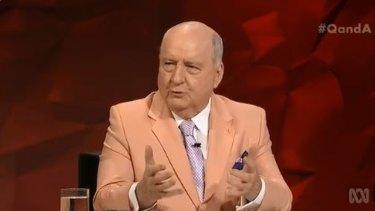 Broadcaster Alan Jones appeared on Q&A on Mondayt night.