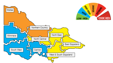 The Mallee and Northern Country have a severe fire risk on Thursday. Mallee also has a severe risk on Wednesday.