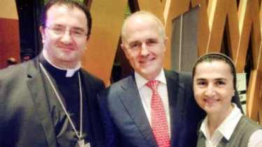 Former prime minister Malcolm Turnbull with Bishop Antoine-Charbel Tarabay and Sister Rose-Therese Tannous.