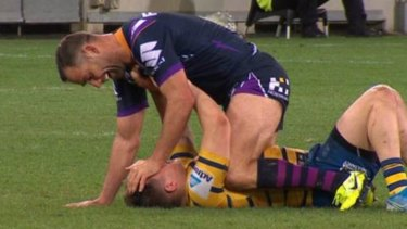 Riled: Cameron Smith and Reed Mahoney in the incident that led to Smith's sin bin.