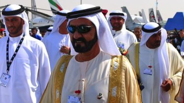 UAE Prime Minister and ruler of Dubai Sheikh Mohammed bin Rashid al-Maktoum, centre, in 2015.