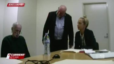 In the video obtained by Nine, serial killer Ivan Milat sits unresponsive as he is interviewed by detectives.