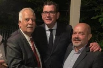 Labor councillor Milad El-Halabi (right) with president of the Legislative Council,  Nazih Elasmar, (left) and Premier Daniel Andrews in an undated photo.