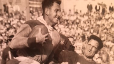 Former Queensland Opposition Leader Nev Warburton in his rugby league playing days in Brisbane. Mr Warburton played for Brisbane in the Bulimba Cup against Ipswich.