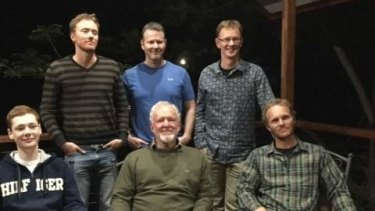 Scientist Brendan Zietsch (back left) with his father, three brothers and a nephew (also one of six males).