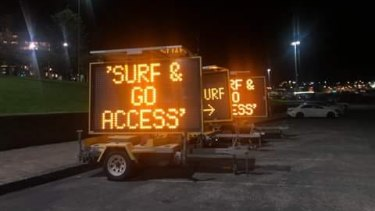 Residents shared photos of the signs at Bondi Beach on social media on Tuesday.