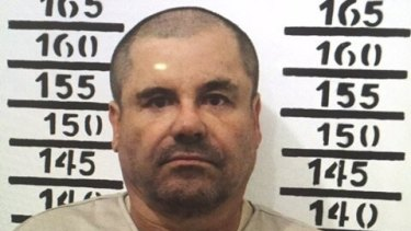 """Mexico's drug lord Joaquin """"El Chapo"""" Guzman in a 2016 mugshot."""