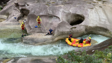 Crews search for missing teen Madison Tam at Babinda Boulders on Thursday.